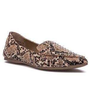 Steve Madden Snake Skin Studded Loafers Size 7
